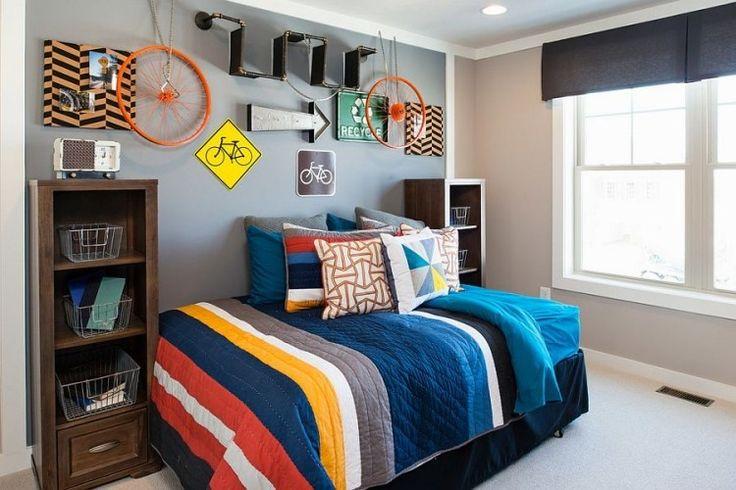 couleur chambre enfant peinture grise et panneau de signalisation comme déco murale