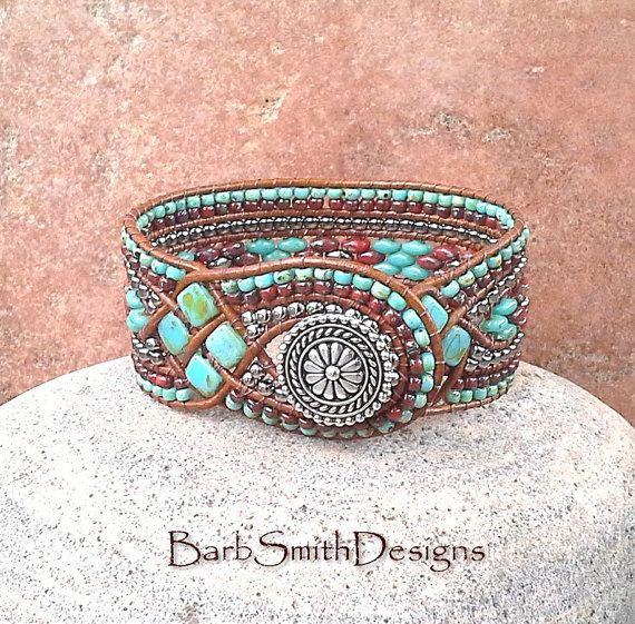 Perles de corail turquoise Bracelet manchette en cuir Wrap - la Reine des diamants en Turquoise n