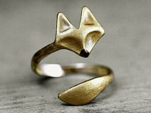 Delicate hand gilded tiny FOX twisted ring
