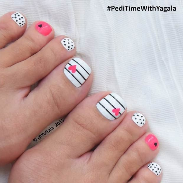 Stripes & Polka Dots Pedicure for Valentine's Day
