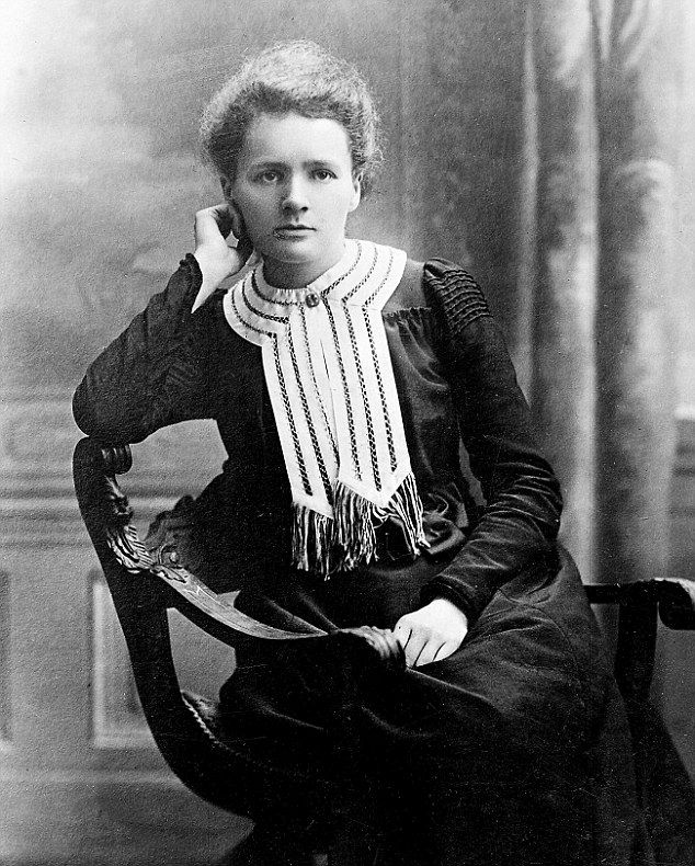 Marie Curie in 1903 at the time she was awarded her Nobel prize in Chemistry