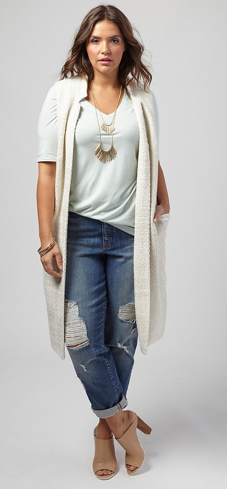 White Tee under long beige sweater + fun necklace(s) Plus Size Long Boucle Ves... 2