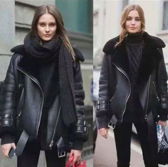 veste aviateur noir cuir mouton femme