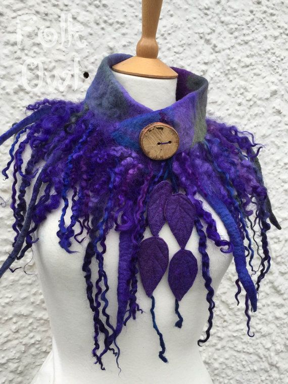 Bluebell and Violet Faerie  wool Cowl - forest scarf- Felt Cowl -  woodland scarf -  -woodland scarf-  wool cowl - unique scarf
