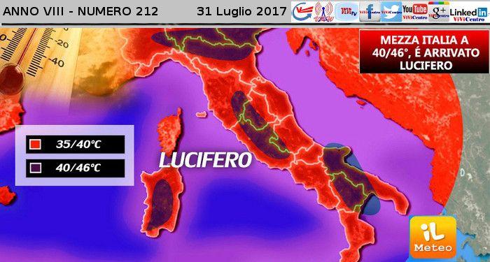 Le FIAMME di LUCIFERO sull'Italia: 43° a Ferrara, 42° a Bologna, 40° a Roma. Ecco come ripararsi dall'ondata di calore