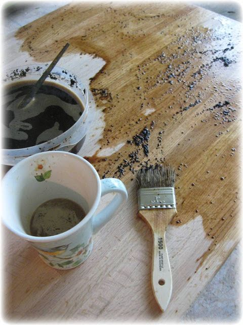 Staining wood with coffee. This lady's countertop is really quite impressive!
