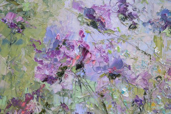 Flower Painting Oil Purple Bedroom Decor door ForestSandandAir