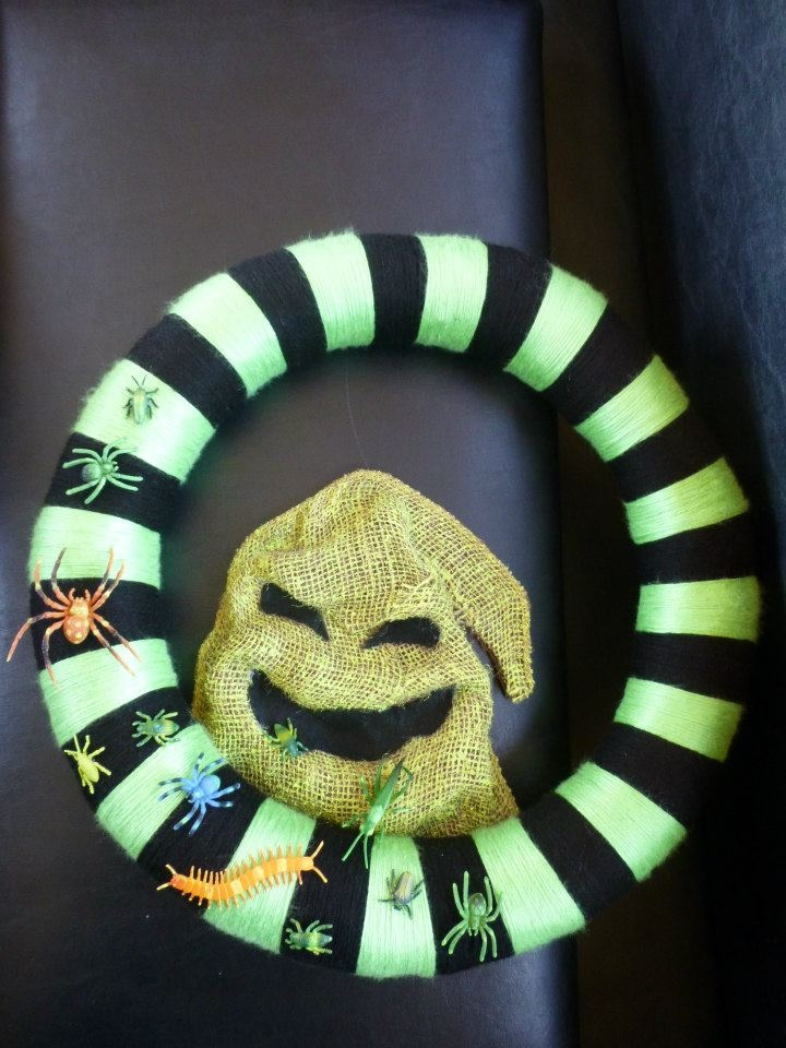 Oogie Boogie burlap with bugs wreath from The Nightmare Before Christmas by HalloQween Creations -on Facebook :)