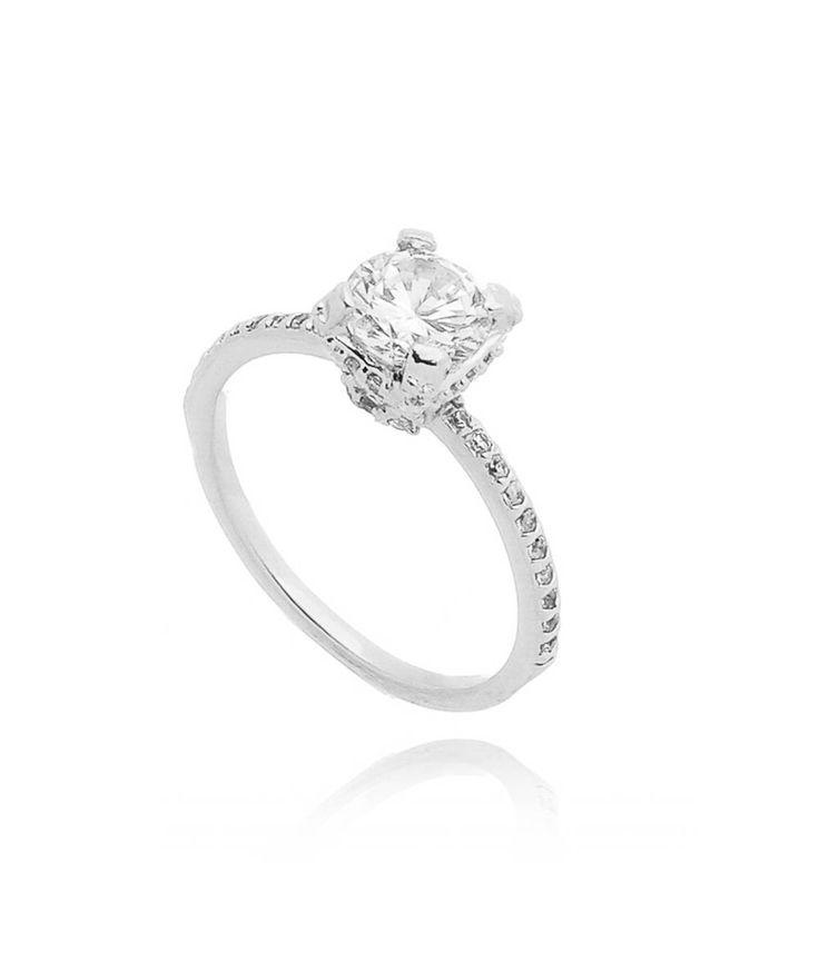 anel solitario prata com zirconia branca semi joia