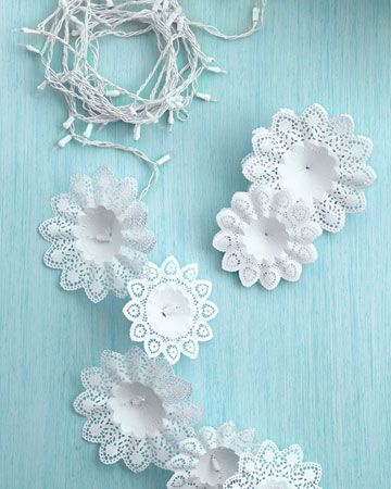 More with the doilies...I like it though, so pretty and such an inexpensive way to make xmas lights look 'fancy'