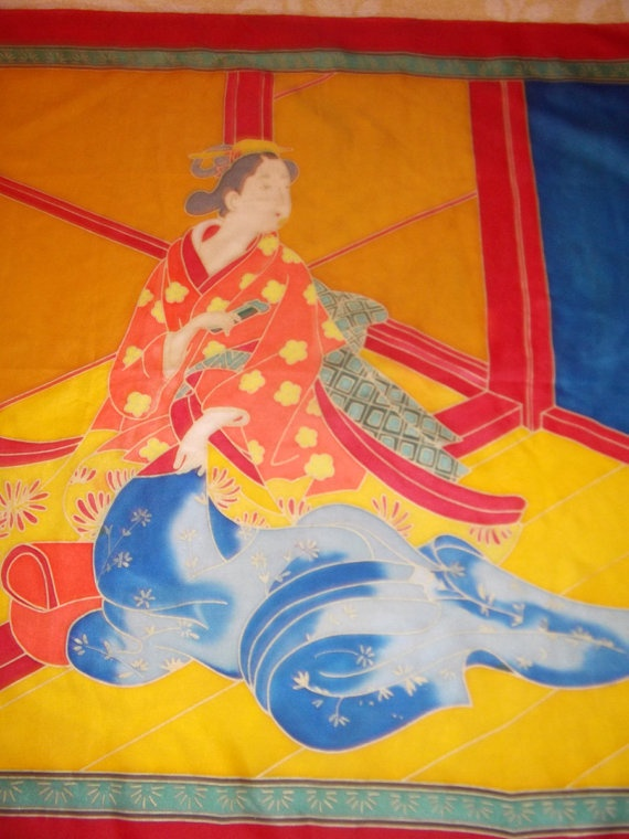 Geisha hand painted vintage silk scarf bright colors by CHEZELVIRE, $14.00