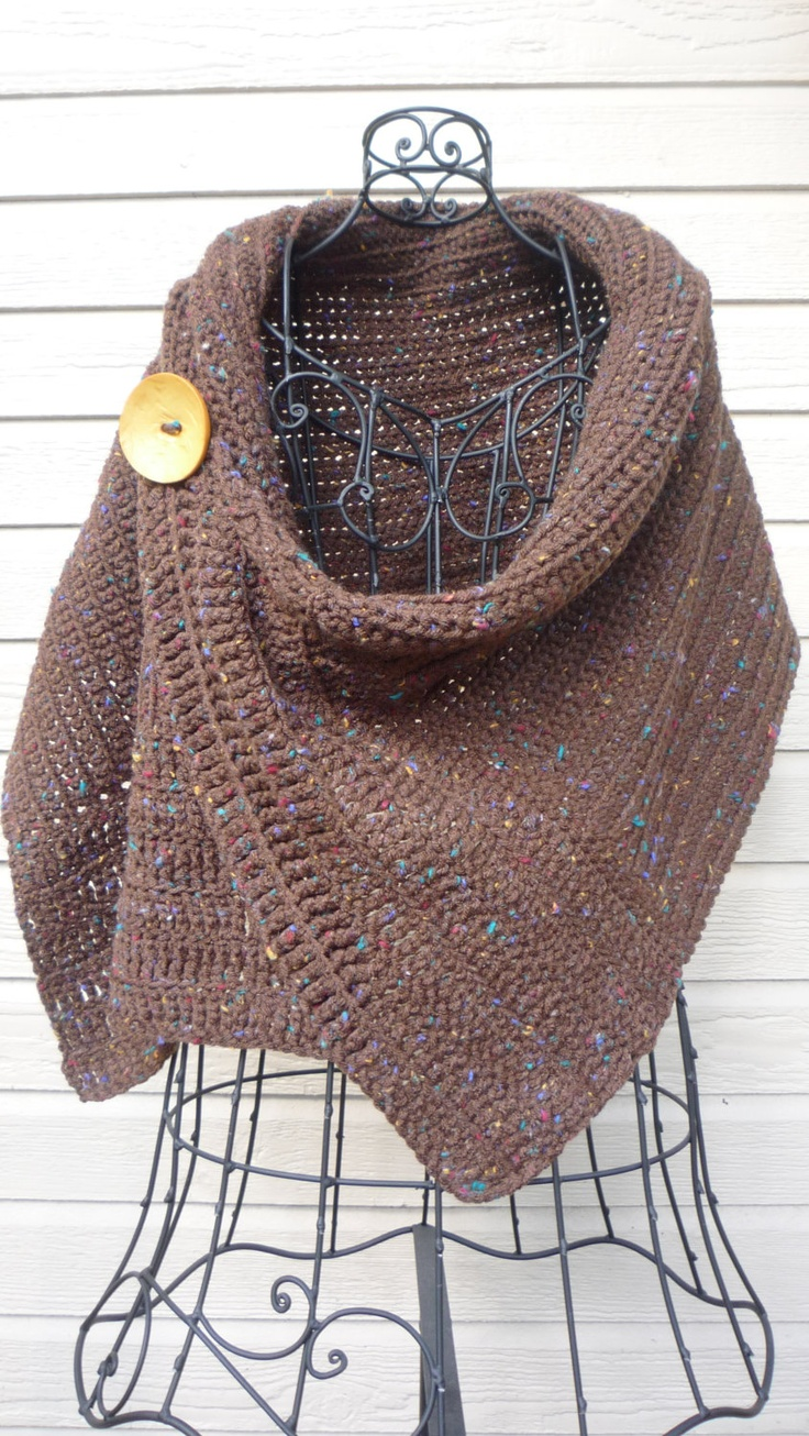 Brown Crocheted Wrap with Big Yellow Button