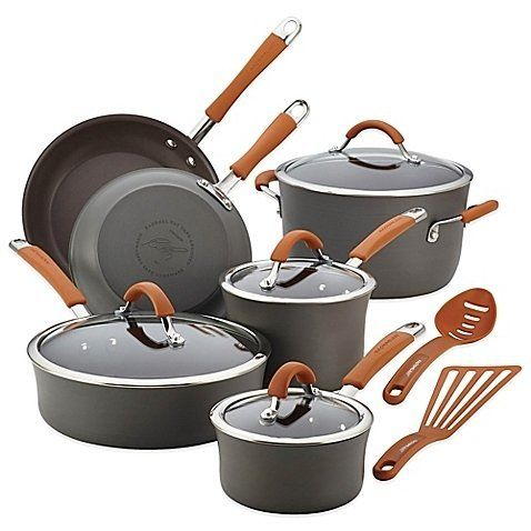RACHAEL RAY Cucina Hard-Anodized 12-Piece Cookware Set - Grey/Orange $135 - FREE SHIPPING OR PICK UP - COMPARE ELSEWHERE $180+) InterexHome.Com