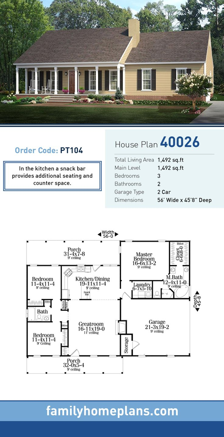 Country Ranch House Plan 40026 842 best