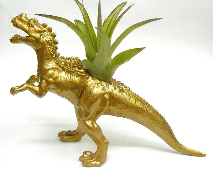 Gold Ceratosaurus Dinosaur Planter with Air Plant // Dinosaur Gift // Coworker Gift // For Her // For Him // Dino Planter