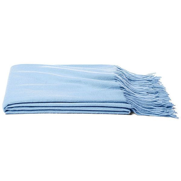Solid Cashmere Throw Baby Blue Throws ($189) ❤ liked on Polyvore featuring home, bed & bath, bedding, blankets, baby blue, fringed throws, light blue throw blanket, lightweight throw blanket, cashmere throw y cashmere throw blanket