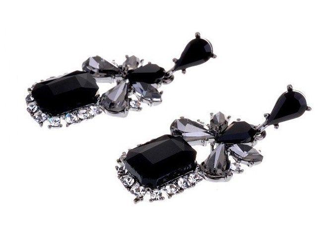 Czarne gotyckie Kolczyki krople Gem Crystal BLACK