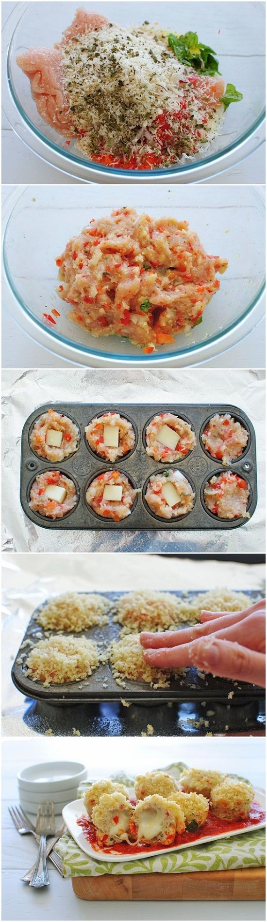 Mini Chicken Parmesan Meatloaf Cupcakes-- Substitute panko & use low carb sauce to lower carbs