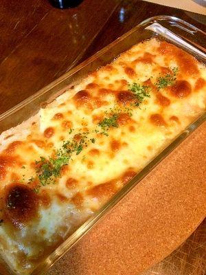 「ふんわりトロトロ☆長芋と豆腐のグラタン」とてもヘルシーで2種類の食感が楽しめます(*^^*)しかも簡単〜。【楽天レシピ】