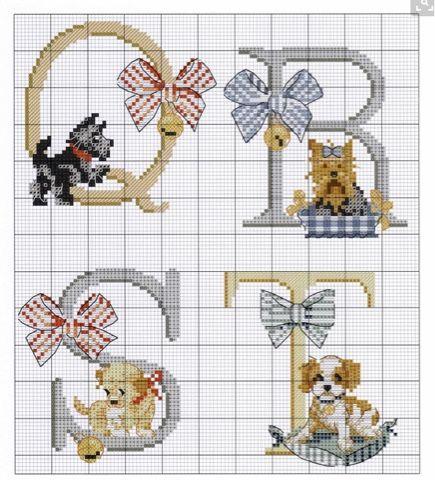 Letras en punto de cruz decoradas con animales. Hilos DMC, tela cuadrille, aguja para bordar en punto de cruz. De la web.