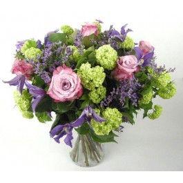 Boeket in de kleuren lila, paars, fris goen