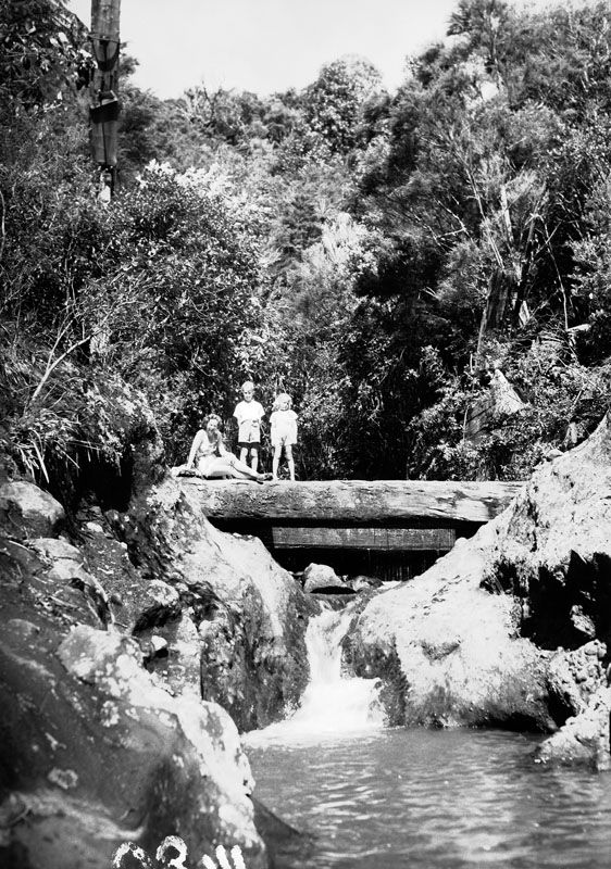 Children of the Diamond family standing on the cill at Black Rock Dam remains, Piha Stream. 1949. The kauri logs were still there in 2014. Photo JTD-04B-01480