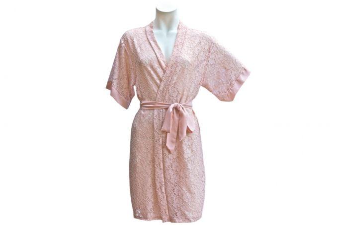 Pink lace robe by Tesi