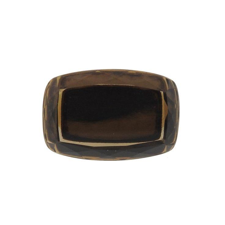H Stern 18k Gold Smokey Topaz Diamond Ring