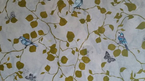 Beautiful hand printed and painted original wallpaper '