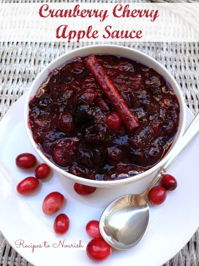Cranberry Cherry Apple Sauce ... skip the canned cranberry sauce and make this amazing homemade version instead. {Real Food + No Sugar} | Recipes to Nourish