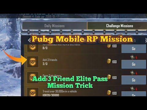 Pubg Mobile | Add 3 Friend Royal Pass Mission Trick | Elite
