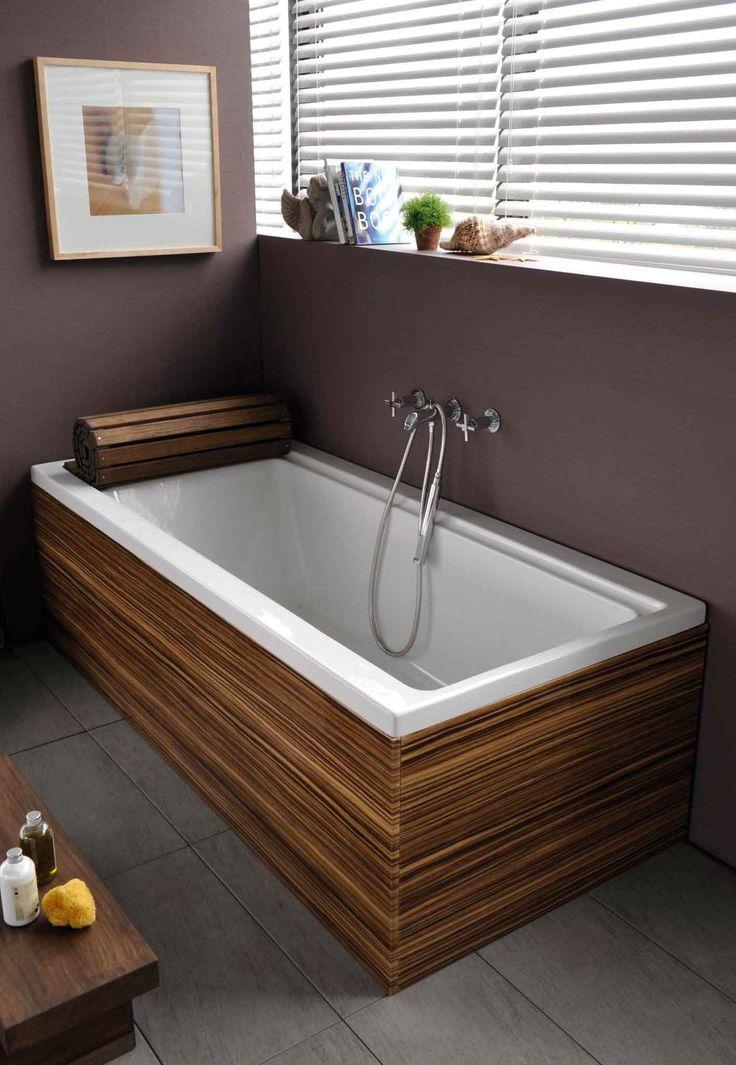 5432 Shift bath, 180x80cm - 5995 Front panel, 180cm, zebrano - 5995 End panel, 80cm, zebrano - 5999 Leg set - 5603847 Bath wooden roll, 180cm - A40868 Uno wall-mounted bath/ shower mixer