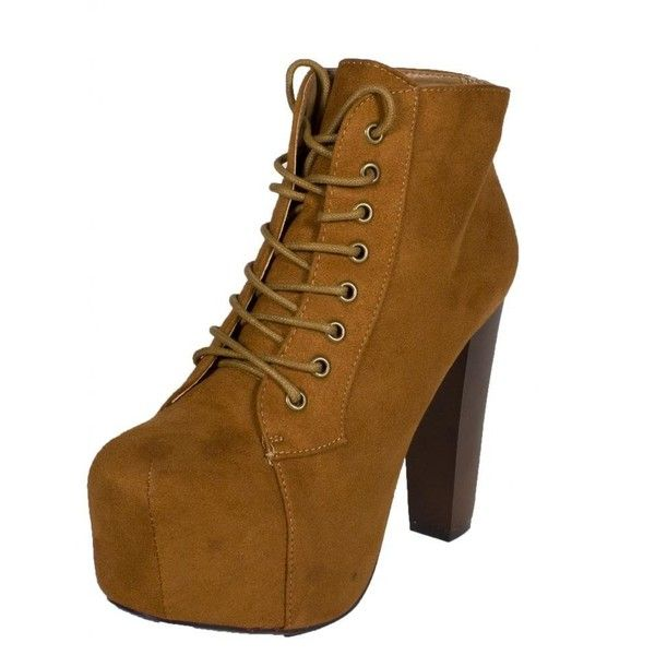 Lustacious Women's Lace Up Hidden Platform Ankle Booties with Wooden... ($33) ❤ liked on Polyvore featuring shoes, boots, ankle booties, wide width boots, chunky-heel boots, mid-calf boots, lace up ankle booties and mid calf lace up boots