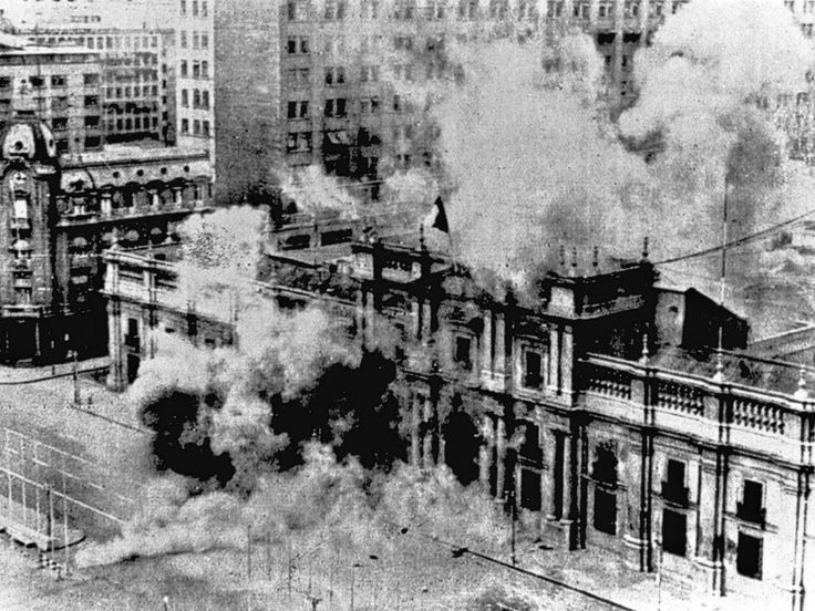 Chilean September 11, 1973. Military Coup. La Moneda Palace bombing