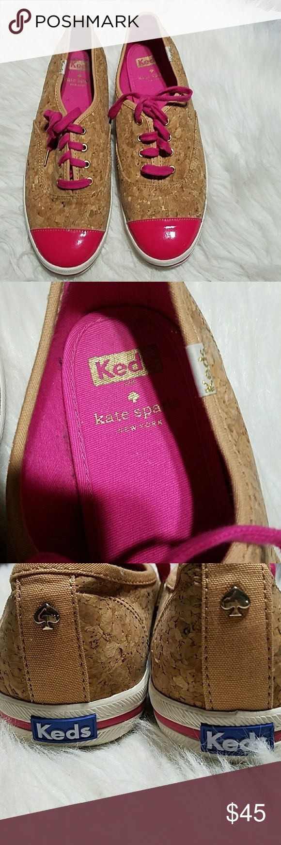Limited Edition Kate Spade Keds Kate Spade Keds,Super cute Cork Style w/ hot pink Toes. Guc Keds Shoes Sneakers