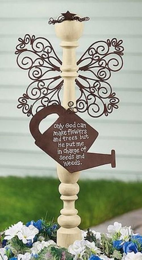 """This gives me an idea to hang my wrought-iron scroll from the spindle that I'm going to put a birdhouse on.  That way it will act as a kind of """"trellis"""" for a vine to grow up on!"""