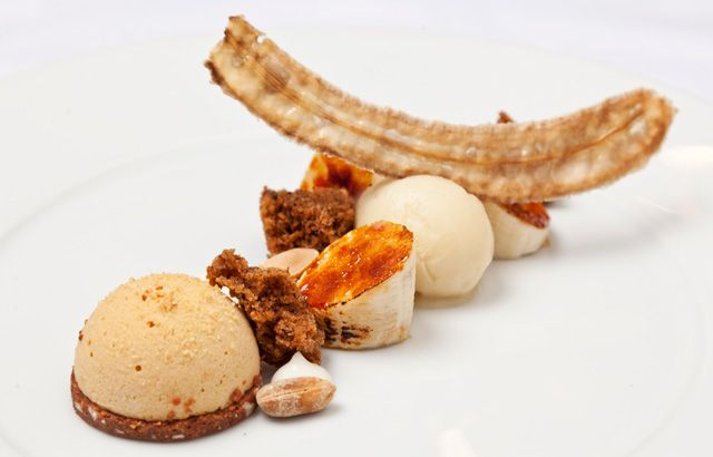 An extraordinary peanut and banana dessert recipe from Great British Chef Nigel Mendham includes banana cake and sherbet, as well as a peanut crunch and parfait