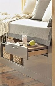 bed with pull out shelf table