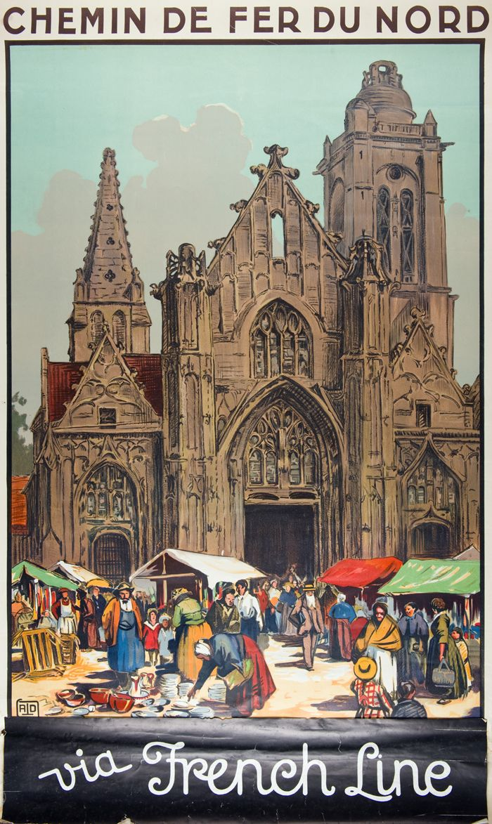Poster advertising travel on the Chemin de fer du Nord (Railway of the North) and the French Line, showing a cathedral in a (presumably) French town square. Artist and date are unknown. Charleston Museum