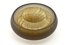 $972   Facet Bowl in Bronze and Amber by Marc Carmen (Art Glass Bowl)