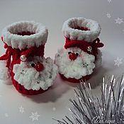 Работы для детей, ручной работы. Ярмарка Мастеров - ручная работа Пинетки Мороз красный нос для новорожденных. Handmade.