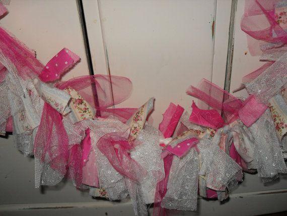 Shabby Rag Banner Rag Garland Rag Tie Banner Pink by chictreasures
