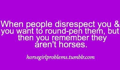Horse girl problems. I actually round penned a guy once. He was clueless, but I thought it was awesome.