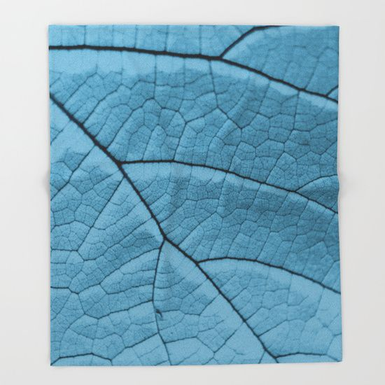 Blue Leaf Throw Blanket by ARTbyJWP #blanket #throwblanket #homedecor #bedroom #blue ---   Our seriously soft throw blankets are available in three sizes and feature vividly colored artwork on one side. Made of 100% polyester and sherpa fleece, these might be the softest blankets on the planet, so get ready to cozy up. They can be machine washed separately with cold water on gentle cycle. Tumble dry on low heat setting. Do not iron or dry clean.