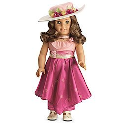 American Girl Rebecca's Movie Dress: Ruffled Bodice, Sash, Skirt, hat, white t-strap shoes - WISH LIST