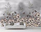 Lqwx Hand Painted Desktop Wallpaper Vintage Gray 3D Flower Butterfly Black Wallpaper For Walls 3 D Decoration Wall Mural 400Cmx280Cm