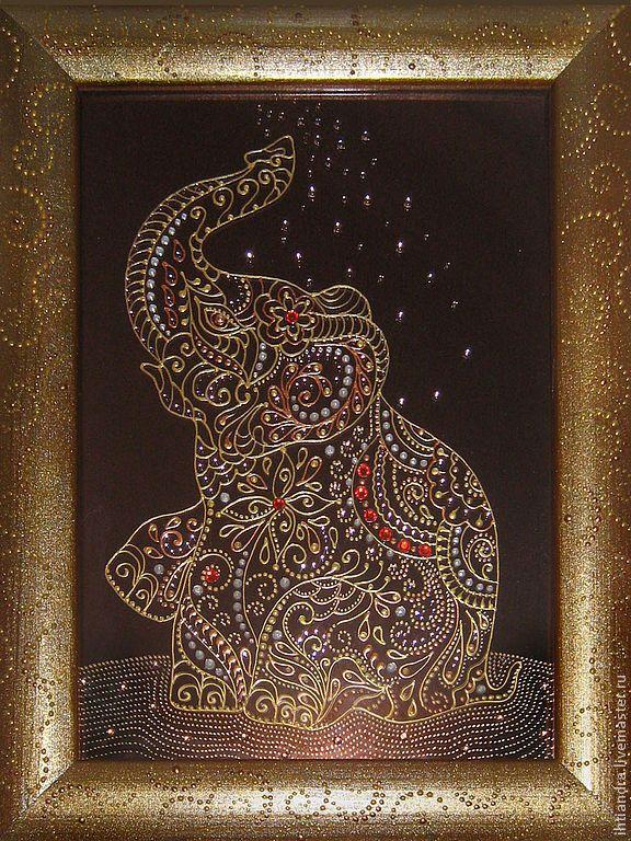 Купить Декоративное панно Слон в брызгах воды Роспись по стеклу - украшение интерьера, эксклюзивный подарок