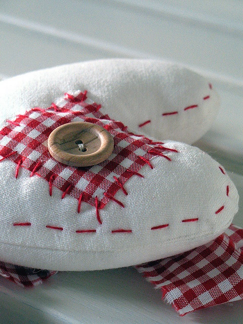stitched red and white heart with gingham