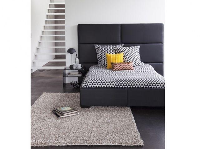 Tête de lit anthracite et linge de lit graphique  #bedroom