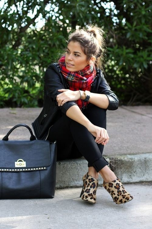 Studded leather bag, leopard print heels, plaid cowl.